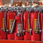 Row of fire extinguishers