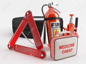 14168432-a-set-consisting-of-a-wheel-fire-extinguisher-first-aid-kit-warning-triangle-and-jack-stock-photo