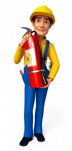 3d rendered illustration of young Plumber with fire extinguisher